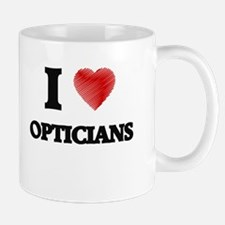 I love Opticians (Heart made from words) Mugs