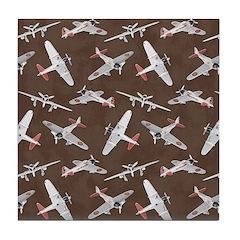 Vintage WWII Aircraft Art Tile Drink Coaster