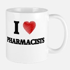 I love Pharmacists (Heart made from words) Mugs