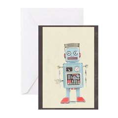 Retro Toy Robot Art Greeting Cards (Pk of 20)