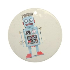 Retro Toy Robot Art Ornament (Round)