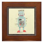Retro Toy Robot Art Framed Tile