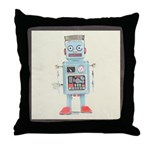 Retro Toy Robot Art Throw Pillow