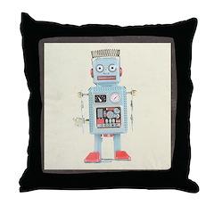 Retro Toy Robot Art Throw Pillow