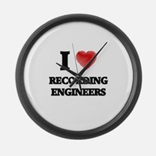 I love Recording Engineers (Heart Large Wall Clock