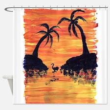 EelKat's Flamingo Sunset Shower Curtain