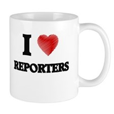 I love Reporters (Heart made from words) Mugs
