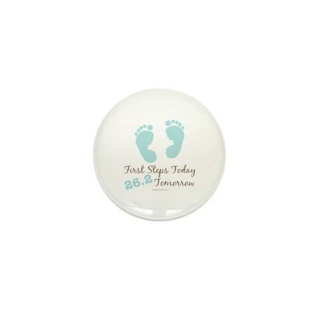 Blue Baby Footprints 26.2 Marathon Mini Button (10