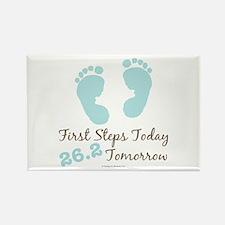 Blue Baby Footprints 26.2 Marathon Rectangle Magne