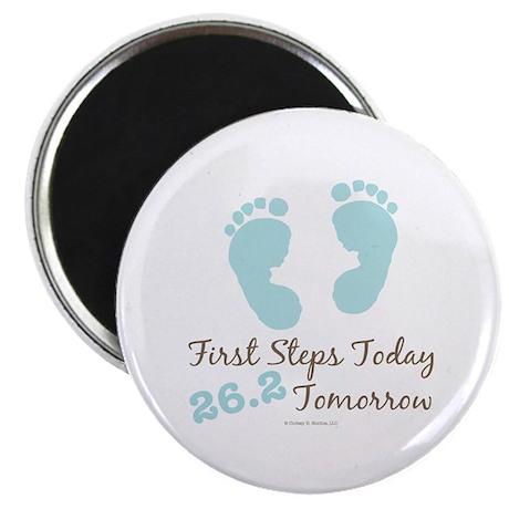 Blue Baby Footprints 26.2 Marathon Magnet