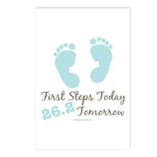 Blue Baby Footprints 26.2 Marathon Postcards (Pack