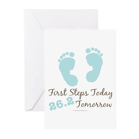 Blue Baby Footprints 26.2 Marathon Greeting Cards