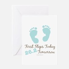 Blue Baby Footprints 26.2 Marathon Greeting Card