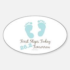 Blue Baby Footprints 26.2 Marathon Oval Decal