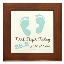 Blue Baby Footprints 26.2 Marathon Framed Tile