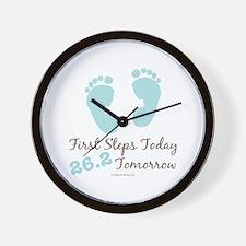 Blue Baby Footprints 26.2 Marathon Wall Clock