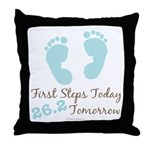 Blue Baby Footprints 26.2 Marathon Throw Pillow
