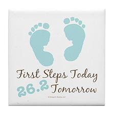 Blue Baby Footprints 26.2 Marathon Tile Coaster