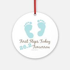 Blue Baby Footprints 26.2 Marathon Ornament (Round