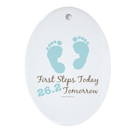 Blue Baby Footprints 26.2 Marathon Oval Ornament