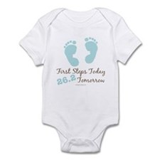 Blue Baby Footprints 26.2 Marathon Infant Bodysuit