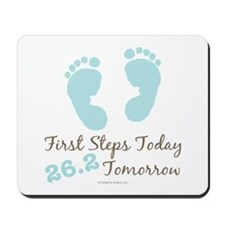 Blue Baby Footprints 26.2 Marathon Mousepad