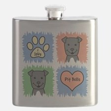 Cool Pit bull dad Flask