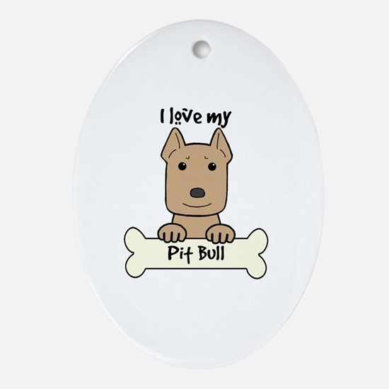 Funny Pitbull dog Oval Ornament