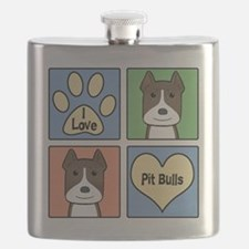 Funny Pit bull dad Flask