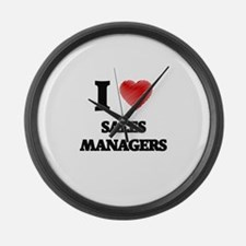 I love Sales Managers (Heart made Large Wall Clock