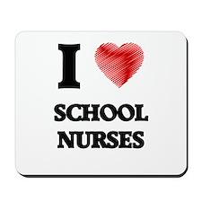 I love School Nurses (Heart made from wo Mousepad