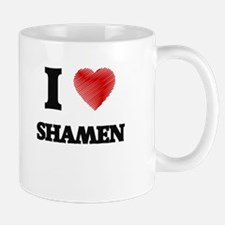 I love Shamen (Heart made from words) Mugs