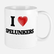 I love Spelunkers (Heart made from words) Mugs