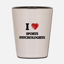 I love Sports Psychologists (Heart made Shot Glass