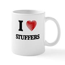 I love Stuffers (Heart made from words) Mugs