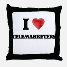 I love Telemarketers (Heart made from Throw Pillow
