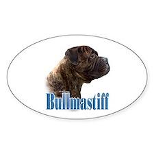 Bullmastiff(brindle)Name Oval Decal