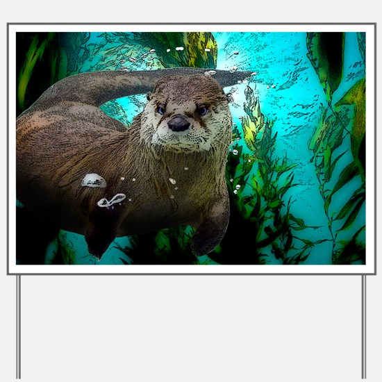 Funny Sea otter Yard Sign