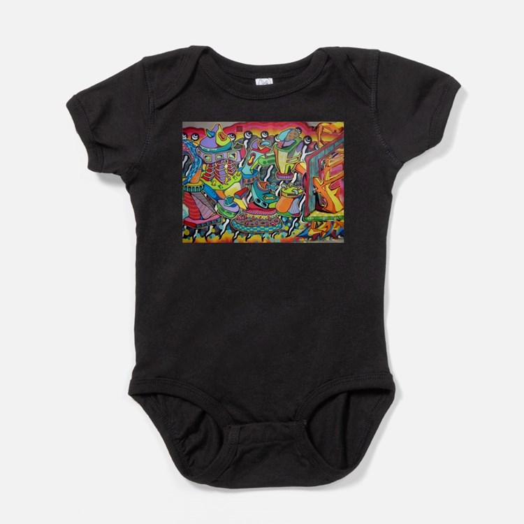 Cute Red abstract art Baby Bodysuit
