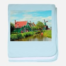 Dutch windmill village, Holland baby blanket