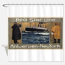 Vintage poster - Red Star Line Shower Curtain