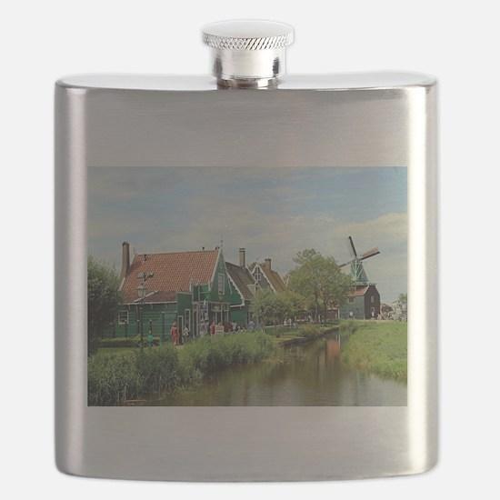 Dutch windmill village, Holland Flask