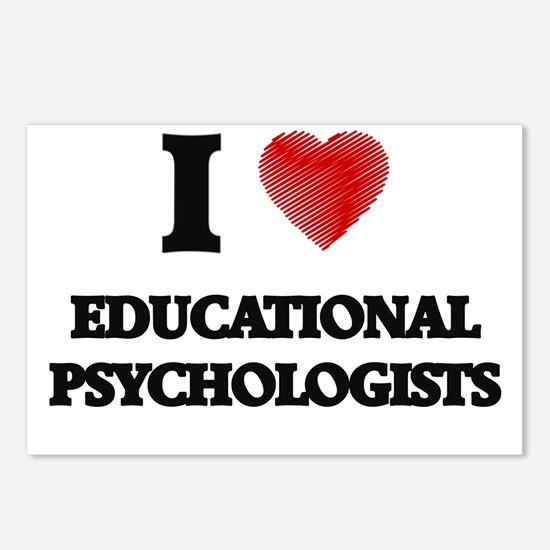 I love Educational Psycho Postcards (Package of 8)