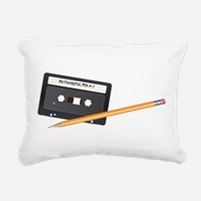 Cassette tape and Pencil Rectangular Canvas Pillow