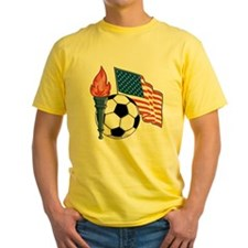 American Flag and Soccer Ball T