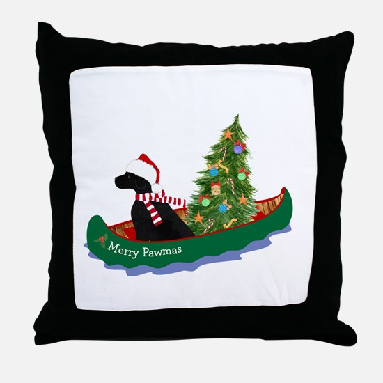 Black Lab Xmas Canoe Throw Pillow