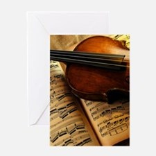 Violin On Music Sheet Greeting Cards