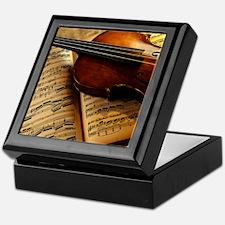 Violin On Music Sheet Keepsake Box