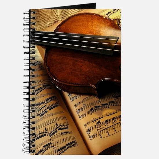 Violin On Music Sheet Journal