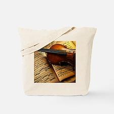 Violin On Music Sheet Tote Bag